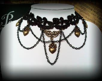 Antique Gold Heart Black Lace Gothic Romantic Victorian Necklace Choker