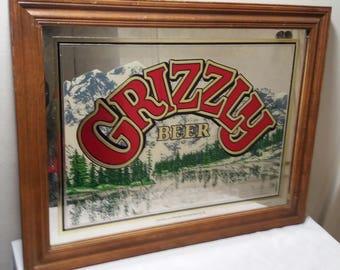 Vintage Grizzly Beer mirror