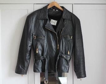 Biker Jacket Vintage Genuine Leather Grunge Black Gold Retro 90s 80s Rock n Roll Look Genuine Padded Warm Women Girls