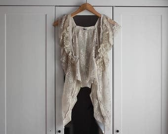 Lacy Shirt Vest Beige Vintage Tank Top Delicate Subtile Boho Chic Women Loose Fit Girly Look Beach Summer Festival Look / Universal Size