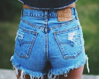 LEVI'S High waisted Denim Shorts Destroyed Ripped Jeans Vintage Cut Off Grunge Rock n Roll Summer Festival Style Boho Look / MADE TO order