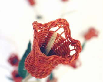 Bouquet of flowers copihues-made by hand by artisans of the South of Chile in nozzles Pil Pil, fiber natural.