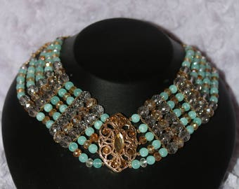Multi layered chain necklace crystal accent and bead