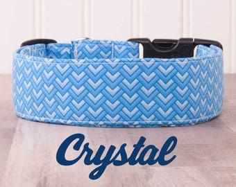"Blue Geometric Chevron Pattern Unisex Dog Collar ""Crystal"""