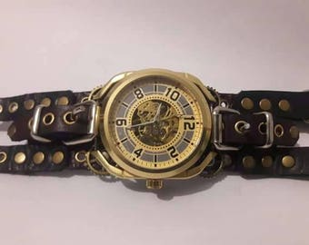 Steampunk Skeleton type rope watch with leather bracelet, completely handmade