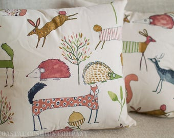 """Forest Friends, Deer, Hedgehog, Fox and co Cushion Cover. Cute multi-coloured design, 17"""" x 17"""" square, 100% cotton."""