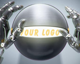 The hands of the robot open the ball with the logo, Video Intro or Outro