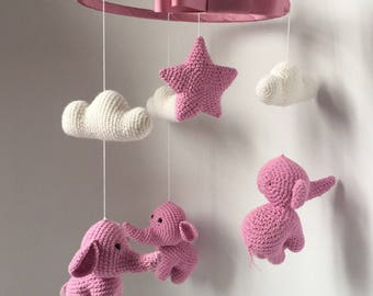 Baby knitted mobile pink elephants
