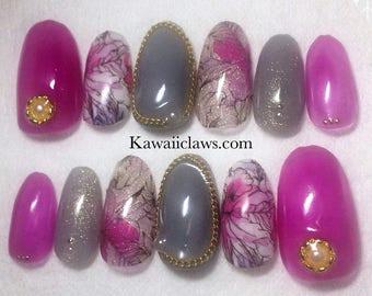 Rasberry & Gray Floral Glitter Gel Nail Art