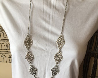 Antiqued Silver Necklace And Earrings