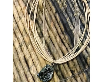 Southern Summer Night Druzy Ribbon Necklace