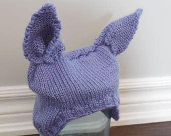 Purple Bunny Ear hat, baby hat size 3-6 months, animal ears