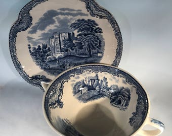 Johnson Brothers Old Britian Castles Blue(Made in England) Flat Cream Soup Bowl & Saucer