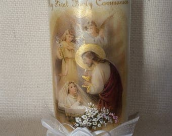 "First Holy Communion Candle - girl, 6"" tall."
