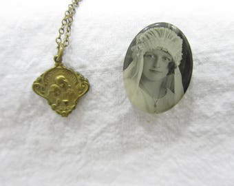 Antique Holy Communion Necklace and pin set