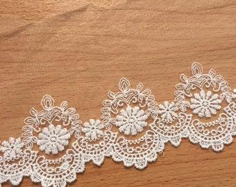 2 Yards Cotton Embroidery Lace Trim- Off White Vintage Retro Cotton Lace Fabric 12cm Wide CX002