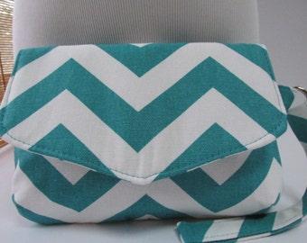Small Turquoise/White Chevron Clutch, Wristlet, Makeup Bag, Purse
