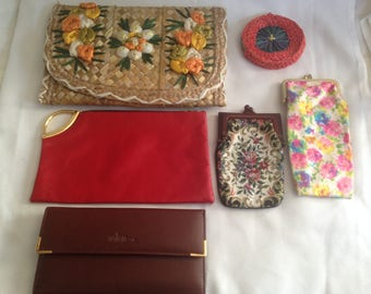 Lot of 6. Clutch, cigertette, case, wallet, coin purse