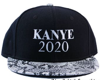 Kanye 2020 Embroidered Snakeskin Flat Bill Hat