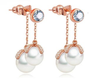 Pearl Earrings Wedding, Pearl Drop Earrings, Pearl Bridal Earrings, Bridal Jewellery, Double Pearl Dangle Earrings, Diamond Earrings