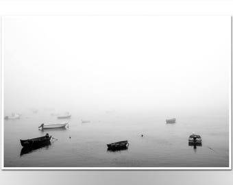 """Photoprint """"Boats in mist"""" Photography Black and White FineArt Poster Print"""
