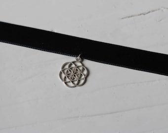Velvet chain with flower of life