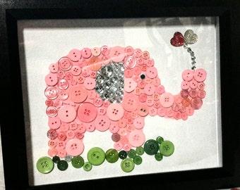 Pink elephant button art