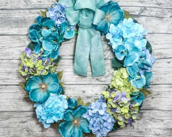 Spring summer front door wreath. Beautiful Large Teal/Turquoise. Mother's day gift wreath. Hydrangea Magnolia Orchid wreath. Floral wreath