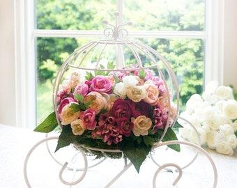 Cinderella carriage Centerpiece. Silk flower Spring arrangement. Wedding centerpiece. Bridal shower. Floral Home decor. Princess Fairy tale.
