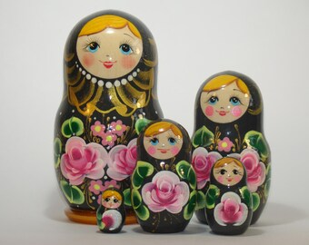 Russian nesting doll, pink flowers, original painting, matryoshka doll, gift for mom, hand painted, babushka dolls