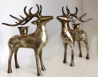Vintage Set Of Reindeer Candle, Rusic Candle, Rustic Decor, Cabin Decor