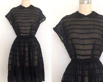 JACQUELINE • 1950's L'Aiglon Black Sheer Dress • Size Small