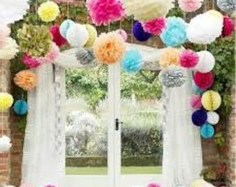 POMPON of paper, paper, decoration flower 8pz!
