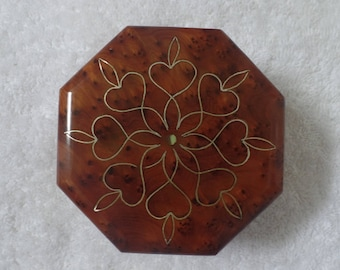 Moroccan Jewelry Box Brown Handmade With Thuya Wood & Flower Designs
