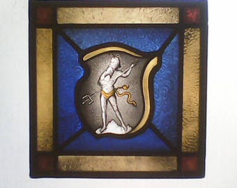 ON SALE - NEPTUNE traditional stained glass window, stunning detail!