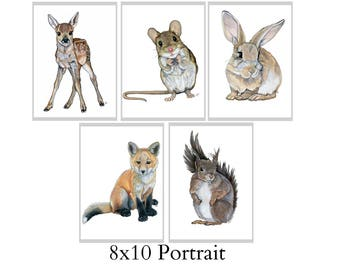 Set Of Five 8X10 Forest Animal Nursery Fine Art Prints - Automatic FREE Shipping - SKU104