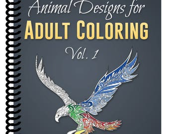 Animal Designs for Adult Coloring Vol.1 [SPIRAL BOUND] by Color & Create