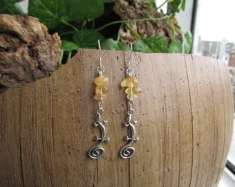 Earrings with citrine stones and lizard