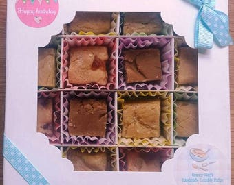 Handmade Crumbly Fudge - Traditional Recipe - Made to Order - Happy Birthday Gift Box (Hers)