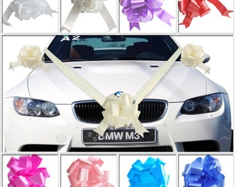 Wedding Car Decoration Kit - 7 Metres of Ribbon with 3 or 5 Large Bows  variety of colours selection HANDMADE Best for celebration set quali