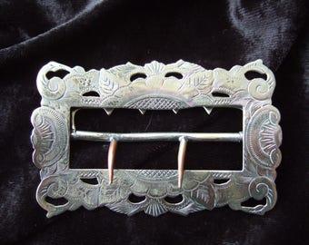Edwardian Silver Plated Belt Buckle