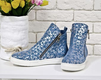 Blue Hi Tops Womens Sneakers Leather Shoes for Women  Casual Shoes Platform Sneakers Blue boots
