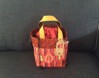 Insulated lunch bag / tote, quality coordinating fun fabrics with drawstring cover