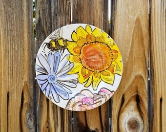 Bumble Bee Art/ Bumble Bee Dessert Plate/ Bumble Bee Painting/ Bee Art/ Bee Plate/ Spring Dining/ Sunflower Art/ Sunflower Bee Dessert Plate
