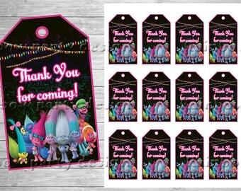 Trolls Thank you cards, Trolls birthday, Trolls Party, Trolls Decorations, Instant dowload, Trolls printable, Trolls Tags, Favor Tags