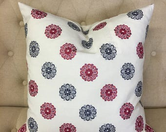 "Navy Blossom 20""x20"" Pillow Cover"