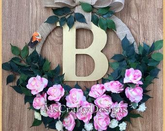 Spring Summer Wreath, Rose Wreath, Monogram Wreath