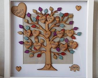 Large Family Tree Picture Box Frame Personalised up to 35 names