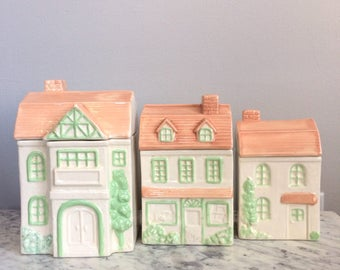 Vintage Ceramic House Canisters