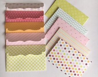 Mini envelopes , paper envelopes, die cut envelopes, handmade envelopes